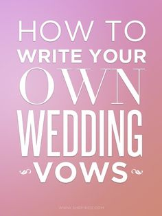 "When couples write their own vows it makes ceremonies so much more memorable (make sure you say the words yourself, not just an ""I do"", and organise a mic!). Here are some tips on how to write the pesky buggers."