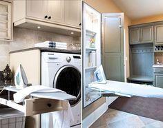 ideias-de-decoracao-para-uma-lavanderia-funcional-6 Stacked Washer Dryer, Washer And Dryer, Laundry Room, Washing Machine, House, Home Appliances, New Houses, Decorating Ideas, Kitchen