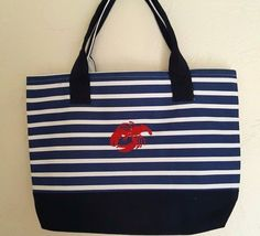 Coastal Lobster Striped Beach Tote Bag Handbag Canvas Nautical  | Clothing, Shoes & Accessories, Women's Handbags & Bags, Handbags & Purses | eBay!