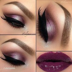 <3 deep purple lips with dreamy eyes #makeup