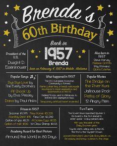 60th Birthday Chalkboard Adult Birthday Chalkboard 60th