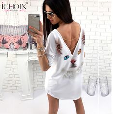 ICHOIX 2017 Summer latest trend in clothes loose Blue and  Yellow eyes Persian cat  Sexy backless T-shirt Summer tops for women #Affiliate