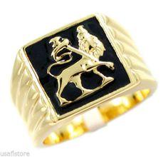 Mens Lion of Judah Gold Plated Stainless Steel Ring | eBay