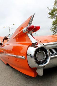 Awesome orange flame hued, 59 Cadillac with tail fins! Luxury Sports Cars, Sport Cars, Classic Chevy Trucks, Classic Cars, Bugatti, Lamborghini, Colani, Photo Vintage, Retro Vintage