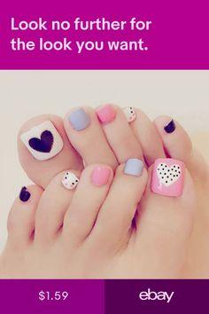 Heart Artificial Fake Toe Nails False Nail Tips For Summer Holiday Beach Pedicure Nail Art, Toe Nail Art, Acrylic Nails, Pretty Toe Nails, Cute Toe Nails, Feet Nail Design, Toe Nail Designs, Summer Toe Nails, Feet Nails