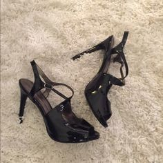 "Carlos Santana Stilettos Carlos Santana black patent strappy heel. 4.5"" heel with 0.5"" platform. Worn only once for family pictures ... bottom of shoes show wear but  otherwise these shoes are in near-new condition. Carlos Santana Shoes Heels"