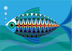 A5 alta qualità di stampa del mio disegno pesci decorativi. Ispirata a modelli di metà secolo moderno, questa è unillustrazione originale. Personalizzabile - vi prego di contattarmi se volete discutere. Disponibile in una gamma di dimensioni. Se vuoi più stampe posso combinare i costi