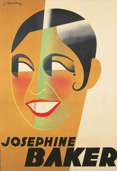 Artist: Jean  CHASSAING (1905-1938) Size: 41 3/8 x 60 1/2 in./105 x 153.7 cm Imp Chachoin, Paris  Drawing clear influence from his friend Paul Colin's many renderings of the performer, this poster is an Art Deco tour de force. It is also shrouded in a bit of mystery as, at the time of its creation, Josephine Baker was just finishing Paris qui Remue - leaving it unclear as to what this poster would have been promoting.  (Art Deco, Josephine Baker, Modern)