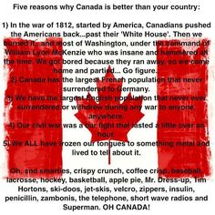 Canada is uneducated and takes no interest in world affairs. America did not start the war of the British invaded us. Canada is still a colony. We offered to let us come join us and they couldn't handle being that awesome. Canadian Memes, Canadian Things, I Am Canadian, Canadian History, Canadian Humour, Canadian Facts, Canadian Tire, Canada Funny, Canada Eh