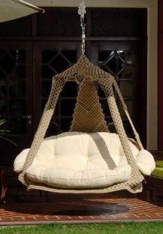 Nido royal duracord chair from jobek - Hammocks Hanging chairs Macrame Hanging Chair, Hanging Swing Chair, Hammock Swing, Hammock Chair, Swinging Chair, Hanging Chairs, Fluffy Cushions, Swing Design, Diy Jewelry Holder