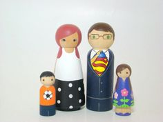 Large Wooden Peg Doll Family of 4 Personalized Custom by Pegged