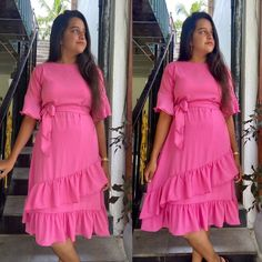 Wrap Frill Pink Dress