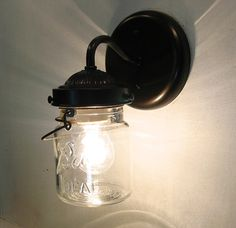 Vintage CLEAR Canning Jar SCONCE Light by LampGoods on Etsy, $50.00