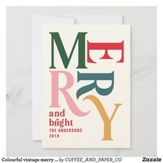 Colourful vintage merry chritsmas announcement Christmas Typography, Christmas Fonts, Christmas Poster, Christmas Graphics, Christmas Invitations, Graphic Design Posters, Graphic Design Typography, Typography Inspiration, Graphic Design Inspiration