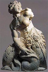 Giovanni Angelo Montorsoli - Scylla (1557). Statue originale de la fontaine de Neptune.  Messine, Musée National.