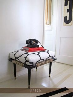 Love this stool makeover! i'll be doing this to my plaid stool that I am tired of!
