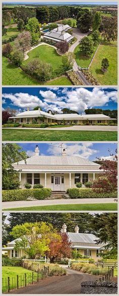 Kildean Homestead, Birregurra SW of Melbourne), is a set on a property of. Weatherboard House, Queenslander, Colonial, Australia House, Homestead House, Driveway Landscaping, Facade House, House Layouts, Classic House