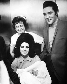 Elvis and Priscilla Presley showing off their newborn daughter, Lisa Marie Presley at the Baptist Memorial Hospital in Memphis, TN, February 5, 1968.