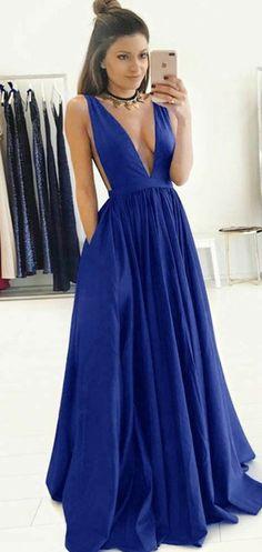 10ff60444f A-Line Deep V-Neck Two Straps Royal Blue V-Back Long Prom Dresses