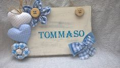 QUADRETTO SHABBY CHIC CON NOME, by La Bottega di Dora, 15,00 € su misshobby.com Adoption Gifts, Childrens Gifts, Baby Room Decor, Baby Crafts, New Baby Gifts, Baby Bibs, Kids And Parenting, Fun Activities, Baby Shower Gifts