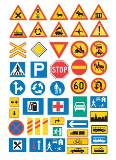 traffic signs from minorpostcards Creative Teaching, Teaching Kids, Imprimibles Hot Wheels, Transportation Activities, Block Center, Early Childhood Education, Science And Nature, Signs, School Projects