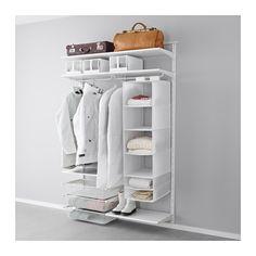 IKEA - ALGOT, Wandschiene/Böden/Stange, Die Teile der ALGOT Serie lassen sich vielseitig kombinieren und können so dem Bedarf und dem vorhandenen Platz angepasst werden.Konsolen werden einfach dort in ALGOT Wandschienen eingehängt, wo Böden und anderes Zubehör gewünscht wird - kein Werkzeug erforderlich.Auch für Badezimmer und andere Feuchträume im Haus geeignet.