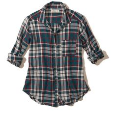 Hollister Button-Front Flannel Shirt featuring polyvore, women's fashion, clothing, tops, navy plaid, blue top, pocket shirts, plaid shirts, tartan flannel shirt and plaid top