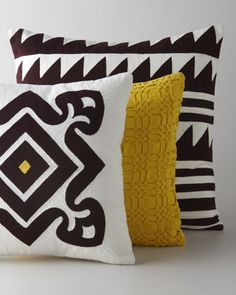 Embroidered+Brown+&+Yellow+Pillows+by+Suki+Cheema+at+Horchow.