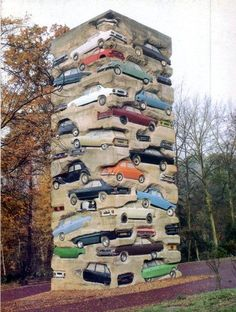 Amazing Upright Sculpture of 59 Cars!