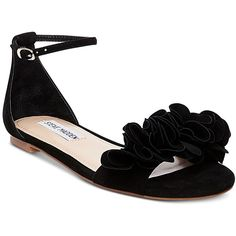 Steve Madden Women's Dorothy Two-Piece Ruffle Sandals ($89) ❤ liked on Polyvore featuring shoes, sandals, black suede, black shoes, steve madden, ruffle sandals, suede shoes and black suede sandals