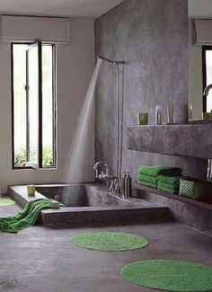 This is the bathroom I want - ALL concrete. No mess, no mold, easy cleaning.