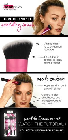 #Contour like a pro using our limited-edition Sculpting Set! Find it at one of our retail partners.   The sculpting brush has densely packed bristles, which easily blends product for the perfect contour. Click to watch the tutorial.