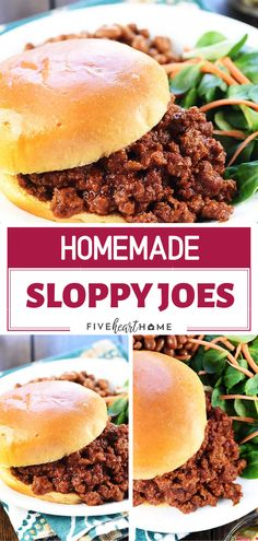 The very best quick and easy homemade Sloppy Joe recipe made with real ingredients! This recipe only takes a couple of minutes, it tastes soooo. Easy Homemade Sloppy Joe Recipe, Homemade Sloppy Joes, Easy Sloppy Joe Recipe With Tomato Paste, Mccormick Sloppy Joe Recipe, Simple Sloppy Joe Recipe, Best Sloppy Joe Recipe Ever, Easy Sloppy Joes, Sloppy Joe Sandwich Recipe, Easy Homemade Recipes