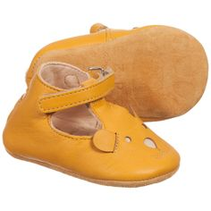 Easy Peasy Yellow Leather Bear 'Loulou' Pre-Walker Shoes at Childrensalon.com