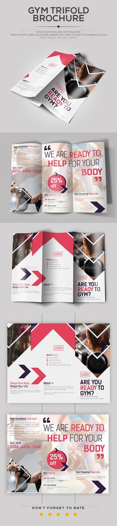 Gym TriFold Brochure Catalog Brochure Template by DesignHaunt. Leaflet Design, Booklet Design, Brochure Design, Brochure Ideas, Letterhead Template, Brochure Template, Flyer Template, Pilates, Photography Brochure