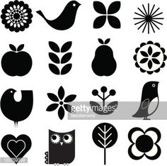 Cute Retro nature icon set Royalty Free Stock Vector Art Illustration folk lore folk art bird and flower stencil print designs for all sorts of craft work