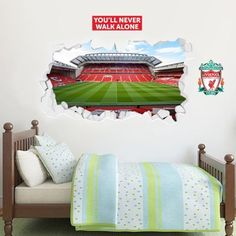 The Official Home of Football Wall Stickers Liverpool Football The Mainstand Broken Anfield Stadium Mural The Beautiful Game Boys Football Bedroom, Football Rooms, Football Wall, Football Stickers, Lfc Wallpaper, Boys Wallpaper, Bedroom Themes, Bedroom Decor, Kids Bedroom