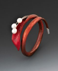 "Bracelet | Charlotte Allen. ""Autumn"".  Bronze, pearls and Sterling Silver"