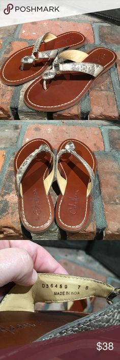 Cole Haan leather upper flip flops size 7 Cole Haan leather upper flip flops size 7.  Beautiful leather upper flip flops.  Very gently used condition.  Very cute Cole Haan Shoes Sandals