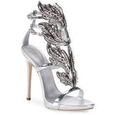 Giuseppe Zanotti Crystal-Embellished Metallic Leather Wing Sandals (8.360 RON) ❤ liked on Polyvore featuring shoes, sandals, heels, giuseppe zanotti, party, giuseppe zanotti sandals, leather heeled sandals, metallic leather sandals, ankle tie sandals and cushioned sandals