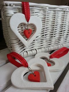 Passion for decorating: heart LOVE - ceramic - . Ceramic Christmas Decorations, Diy Christmas Ornaments, Valentine Crafts, Holiday Crafts, Polymer Clay Ornaments, Polymer Clay Crafts, Salt Dough Crafts, Diy And Crafts, Crafts For Kids