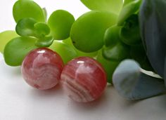 Natural Rhodochrosite Gemstone Beads  Grade AA  11mm   2 loose beads #na #Spacer
