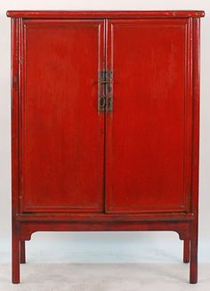 Antique Asian Furniture Chinese Red Lacquered 2 Door Cabinet From Shanxi Province