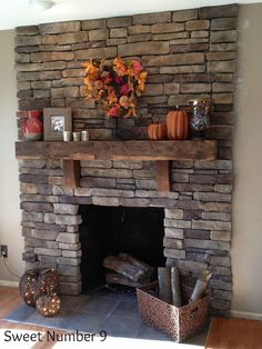 Stacked Stone Fireplace - I wish our house had a stone fireplace. - Stacked Stone Fireplace – I wish our house had a stone fireplace. They are so majestic - Stacked Stone Fireplaces, Rustic Fireplaces, Home Fireplace, Fireplace Remodel, Fireplace Design, Rustic Mantle, Wooden Mantle, Basement Fireplace, Fireplace Ideas