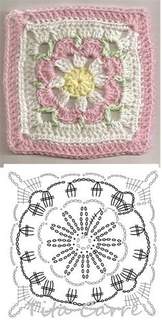 Crochet Granny Square Patterns Crochet Granny Square Rose S - Salvabrani Crochet Stitches Chart, Granny Square Crochet Pattern, Crochet Diagram, Crochet Squares, Crochet Blanket Patterns, Knitting Patterns, Crochet Mandala, Crochet Motif, Crochet Flowers