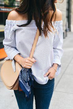 dced5a234ef Stripe Over the shoulder top How To Wear Off Shoulder Top