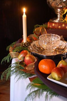 Fruit and greenery...christmas or fall...depending on greenery used..