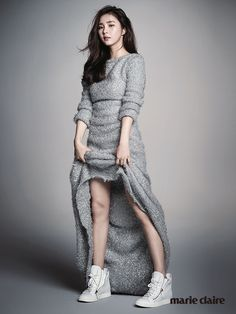 pushButton silver knit dress | Shin Se Kyung for Marie Claire, Sept 2014 | via kfashionista