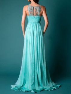 Green Lace Panel Cut Away Sleeveless Keyhole Maxi Party Dress | Choies