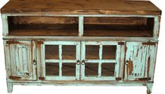 Painted Antique Style Turquoise TV Stand. Love how chippy this is.